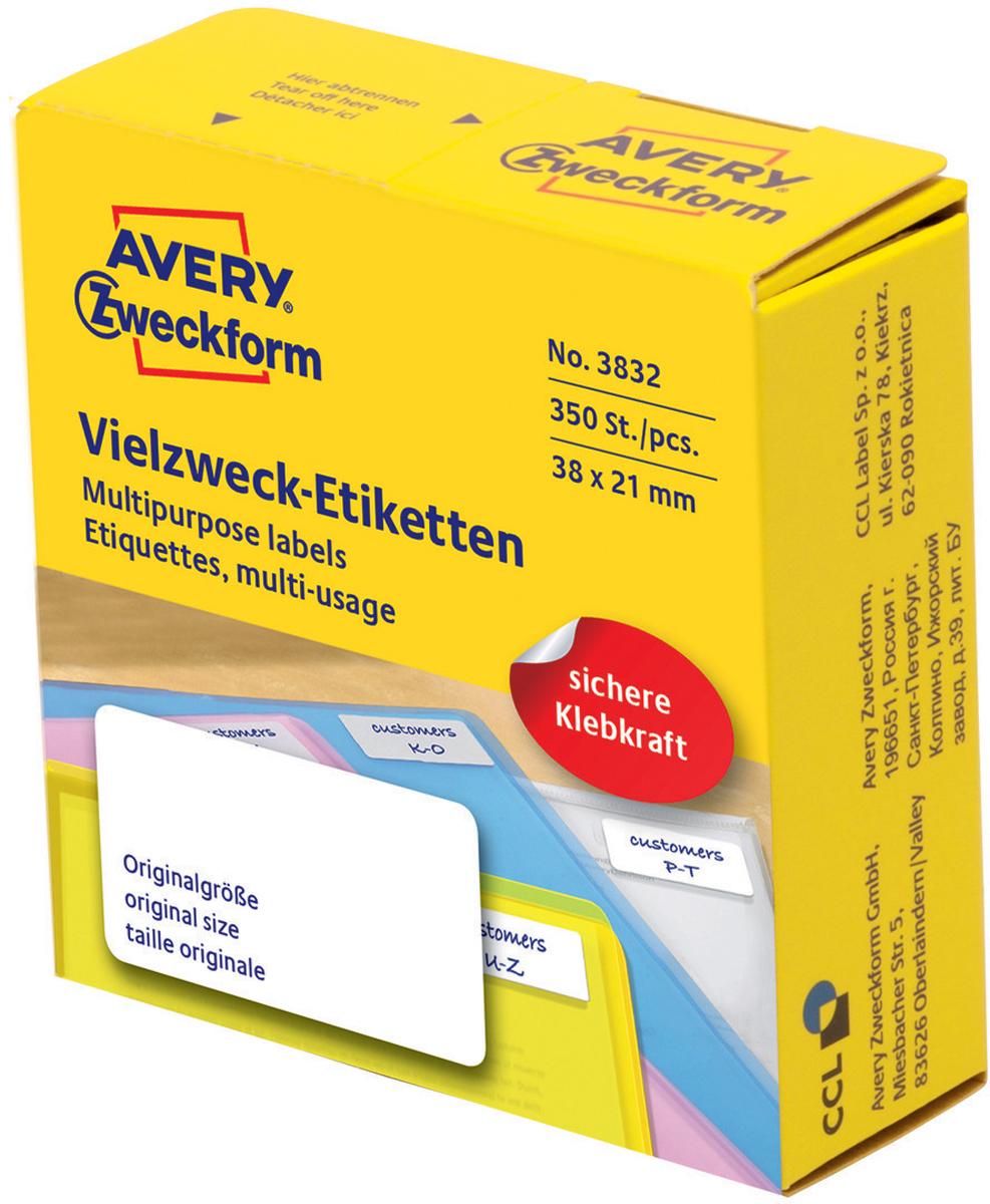 Avery Zweckform Этикетки самоклеящиеся универсальные в диспенсере цвет белый 38 x 21 мм 350 шт жидкость для удаления этикеток avery zweckform спрей 150 мл