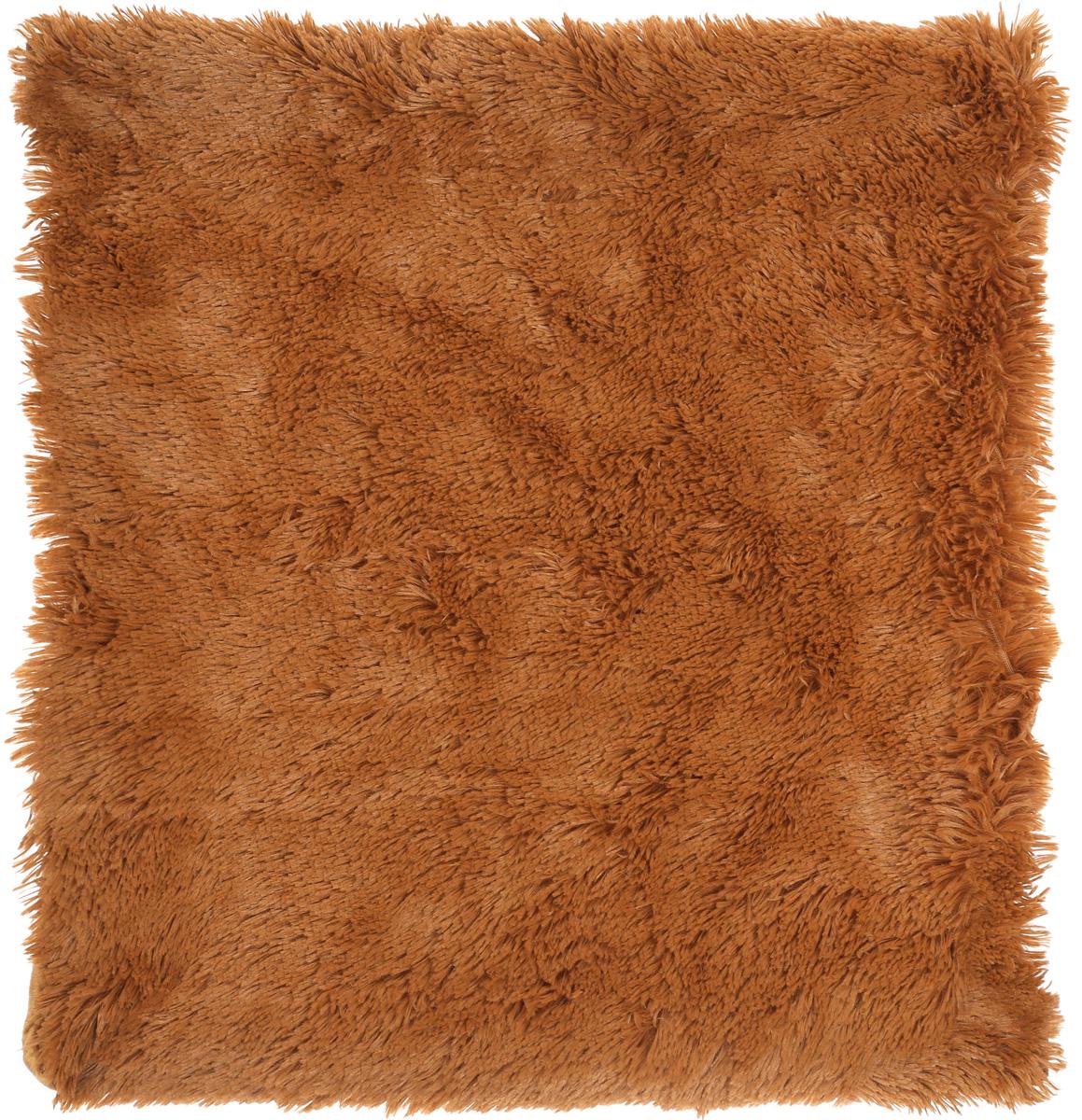 """Наволочка Buenas Noches """"Длинный ворс"""", 48х48 см, цвет: коричневый"""