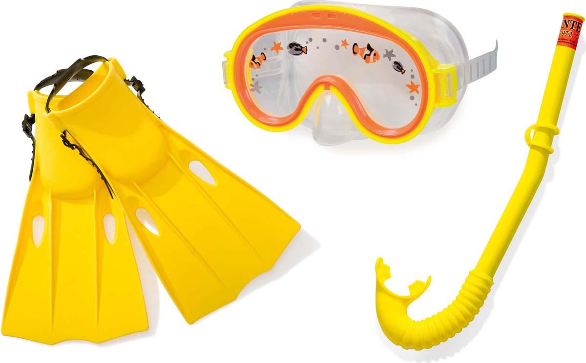 набор для плавания intex 55960 silicone aviator pro swim от 8 лет Набор для плавания Intex Приключения: маска, трубка, ласты