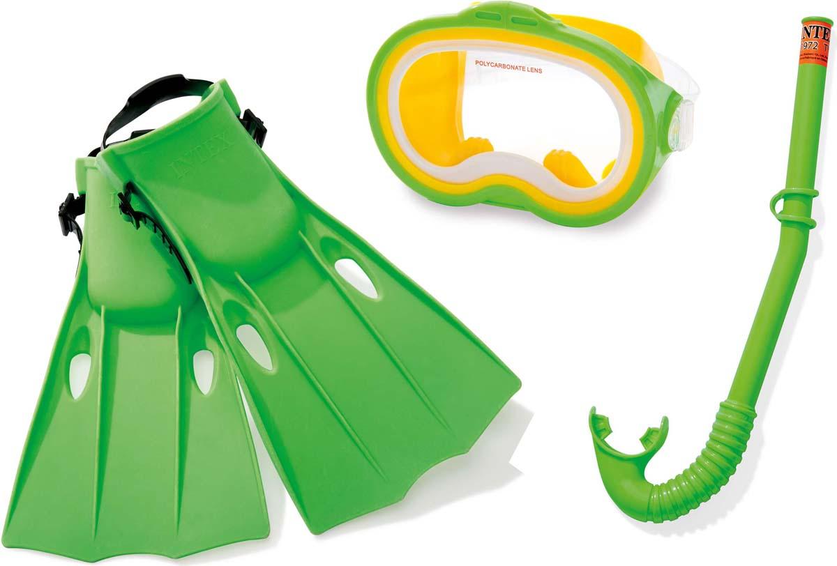 Набор для плавания Intex Приключения мастер: маска, трубка, ласты набор маска с трубкой и ластами intex 55959
