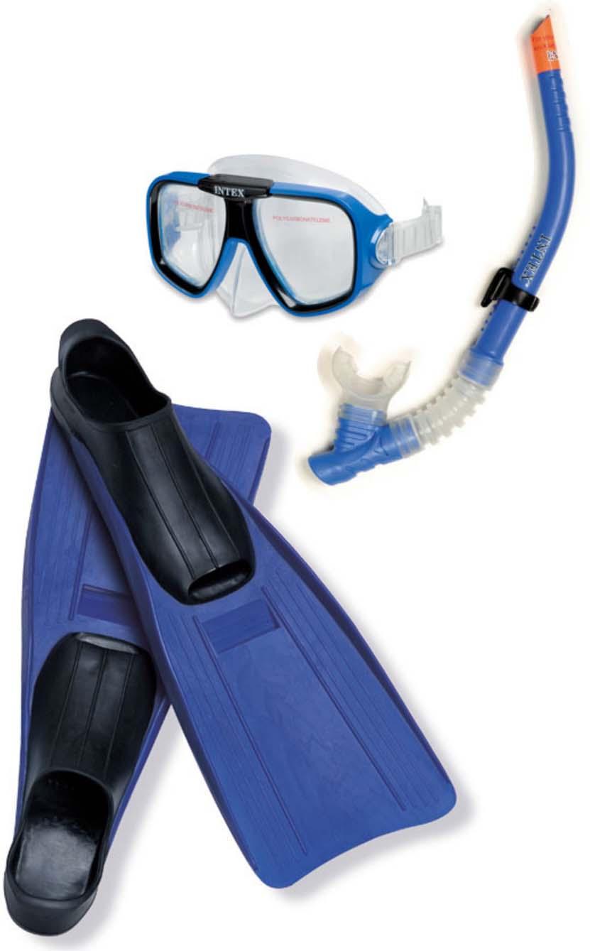 Набор для плавания Intex Летчик: маска, трубка, ласты набор маска с трубкой и ластами intex 55959