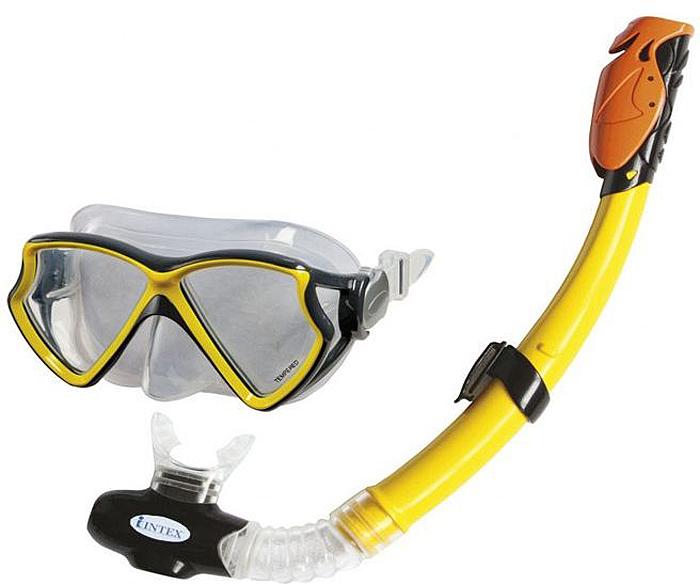 Набор плавательный Intex Авиатор Про, маска, трубка набор маска с трубкой и ластами intex 55959