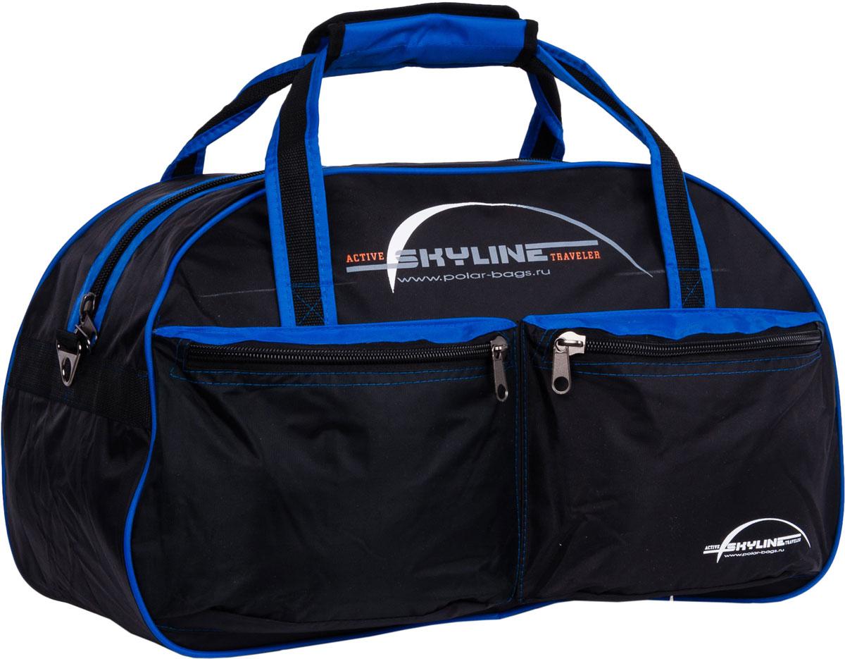 Сумка дорожная Polar Скайлайн, цвет: черный, синий, 53 л сумка спортивная polar скайлайн цвет черный желтый серый 53 л п05 6