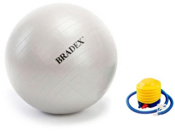 Мяч для фитнеса Bradex Фитбол-75, с насосом, цвет: серый металликSF 0187Мяч предназначен для больных с неврологической и опорной патологией и пациентов с расстройствами вестибулярного аппарата, а также в период ранней реабилитации после гипсов при травмах и операциях различных сегментов тела. Специальная форма мяча обеспечивает дополнительную опору и удобства при реабилитационных мероприятиях. Кроме того, мяч предназначен для коррекции осанки, занятий лечебной физкультурой и кинезитерапией, а также для развития и укрепления мышц спины и брюшного пресса. Подходит для реабилитации пациентов в ЛФК кабинетах и на дому. Отличное приспособления для регулятивной физической нагрузки беременных женщин, поможет укрепить мышцы бедер и пресса при максимальном комфорте.