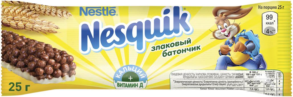 Nestle Nesquik шоколадный батончик с цельными злаками, 25 г шоколадный батончик nesquik 43г