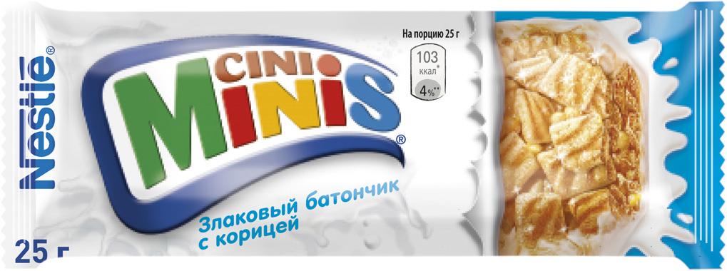 Nestle Cini Minis Злаковый батончик с корицей, 25 г фруктово злаковый батончик effort инжир с яблоком и корицей 50 г