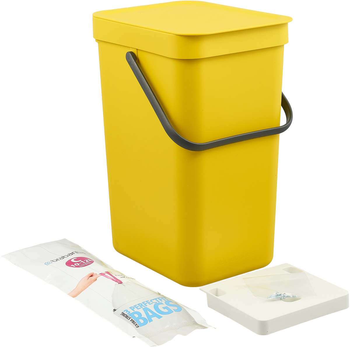 Ведро мусорное Brabantia Sort & Go, встраиваемое, цвет: желтый, 16 л. 109843