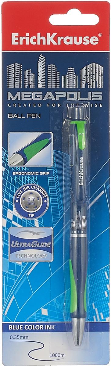 лучшая цена Ручка шариковая ErichKrause Megapolis Concept, автоматическая, цвет чернил синий, цвет корпуса синий, салатовый