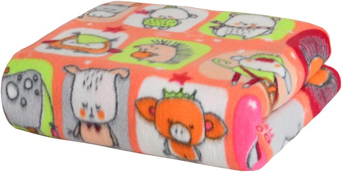 """Плед Mona Liza """"Спящий зоопарк"""", флисовый, цвет: розовый, 150 х 200 см"""