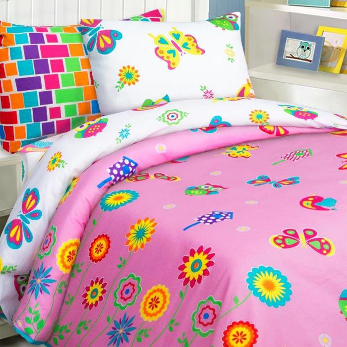 Комплект постельного белья Mona Liza Бабочки, 1,5 спальное, цвет: розовый, наволочки 50 х 70, 70 х 70 см постельное белье mona liza 5 спальное бабочки розовый