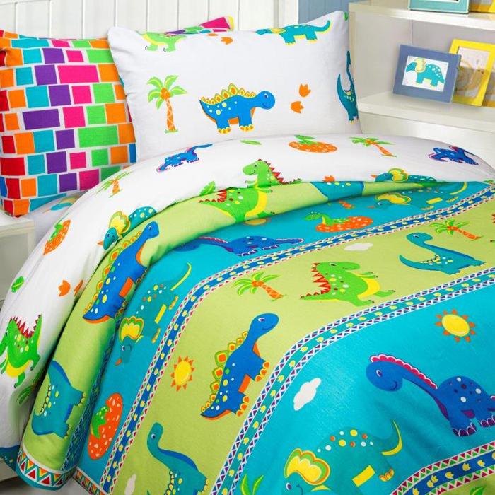 Комплект постельного белья Mona Liza Дино, 1,5 спальное, цвет: зеленый, наволочки 50 х 70, 70 х 70 см комплект постельного белья mona liza принцессы 1 5 спальное цвет розовый наволочки 50 х 70 70 х 70 см