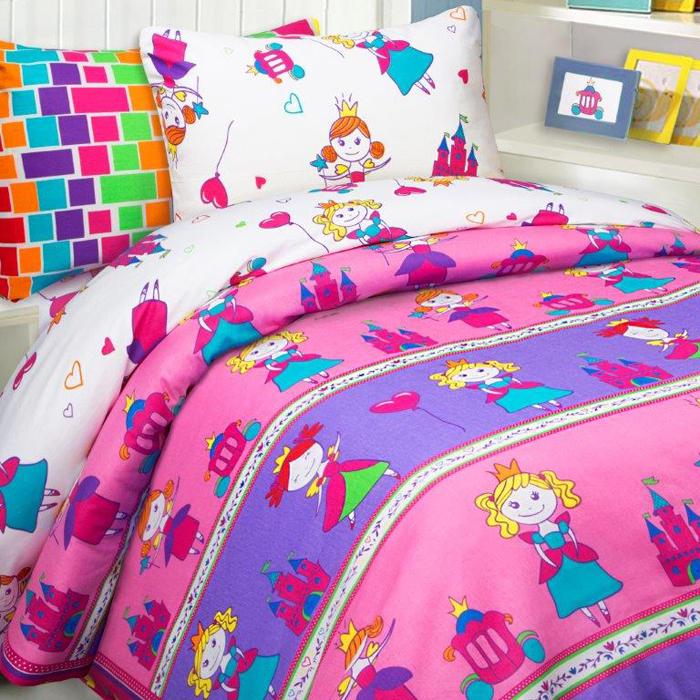 Комплект постельного белья Mona Liza Принцессы, 1,5 спальное, цвет: розовый, наволочка 70 х 70 см комплект постельного белья mona liza принцессы 1 5 спальное цвет розовый наволочки 50 х 70 70 х 70 см