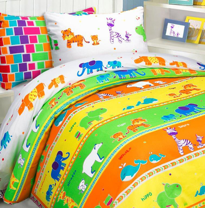 Комплект постельного белья Mona Liza Зоопарк, 1,5 спальное, цвет: желтый, наволочки 50 х 70, 70 х 70 см комплект постельного белья mona liza принцессы 1 5 спальное цвет розовый наволочки 50 х 70 70 х 70 см