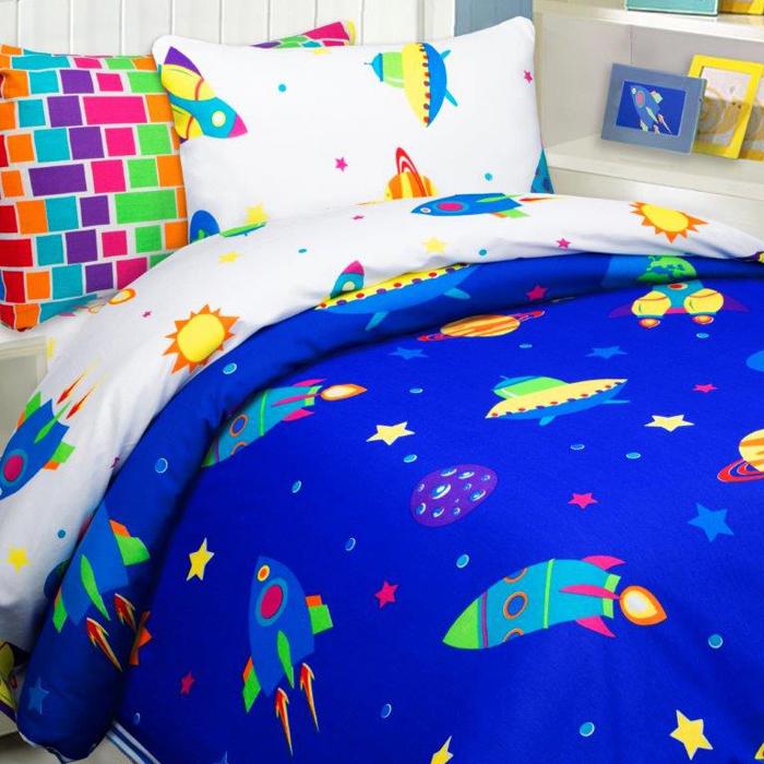 Комплект постельного белья Mona Liza Космос, 1,5 спальное, цвет: синий, наволочки 50 х 70 см, 70 х 70 см комплект постельного белья mona liza принцессы 1 5 спальное цвет розовый наволочки 50 х 70 70 х 70 см