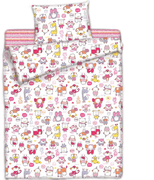 комплекты в кроватку Комплект в кроватку Mona Liza Спящий зоопарк, цвет: розовый, наволочка 40х60 см