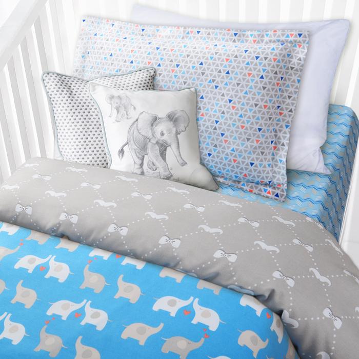 """Комплект в кроватку Mona Liza """"Слоники"""", 1,5-спальный, цвет: белый, наволочка 40 х 60 см"""