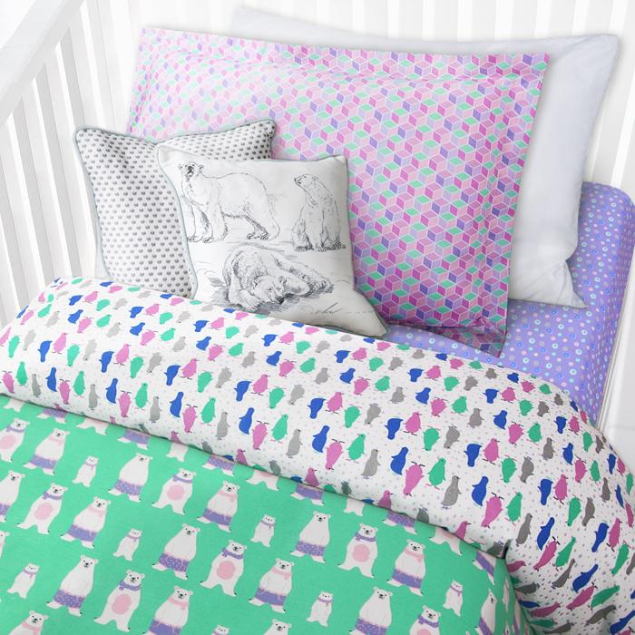 """Комплект в кроватку Mona Liza """"Медведи"""", 1-спальный, цвет: белый, наволочка 40 х 60 см"""