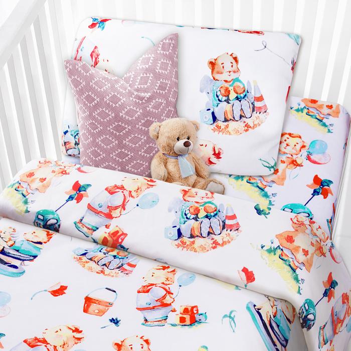комплекты в кроватку Комплект в кроватку Mona Liza Медвежата, цвет: белый, наволочка 40 х 60 см