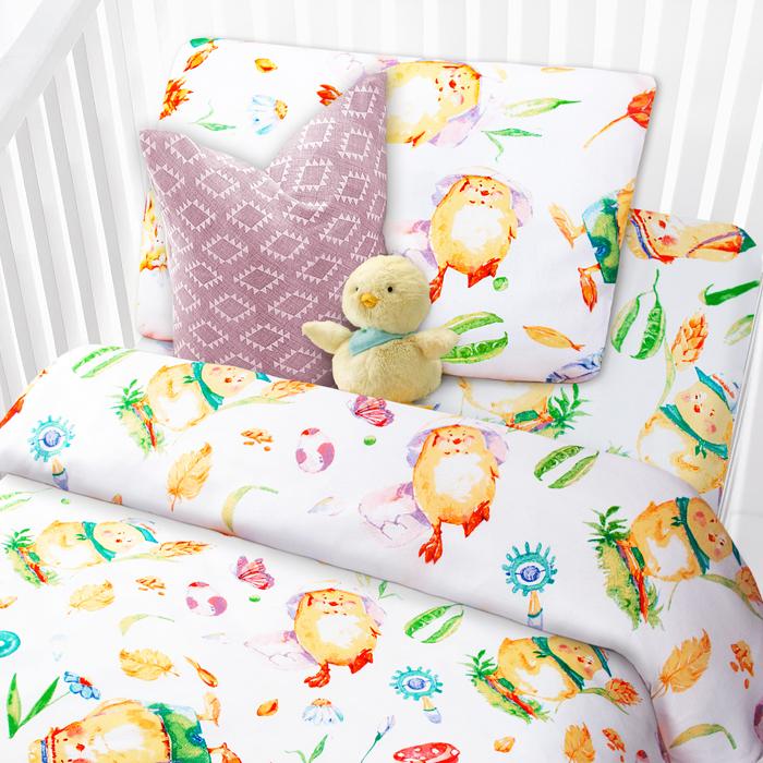 комплекты в кроватку Комплект в кроватку Mona Liza Цыплята, 1,5-спальный, наволочка 40 х 60 см, цвет: белый
