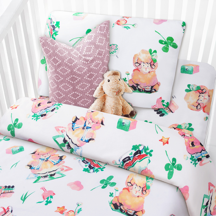 """Комплект в кроватку Mona Liza """"Овечки"""", 1,5-спальный, цвет: белый, наволочка 40 х 60 см"""