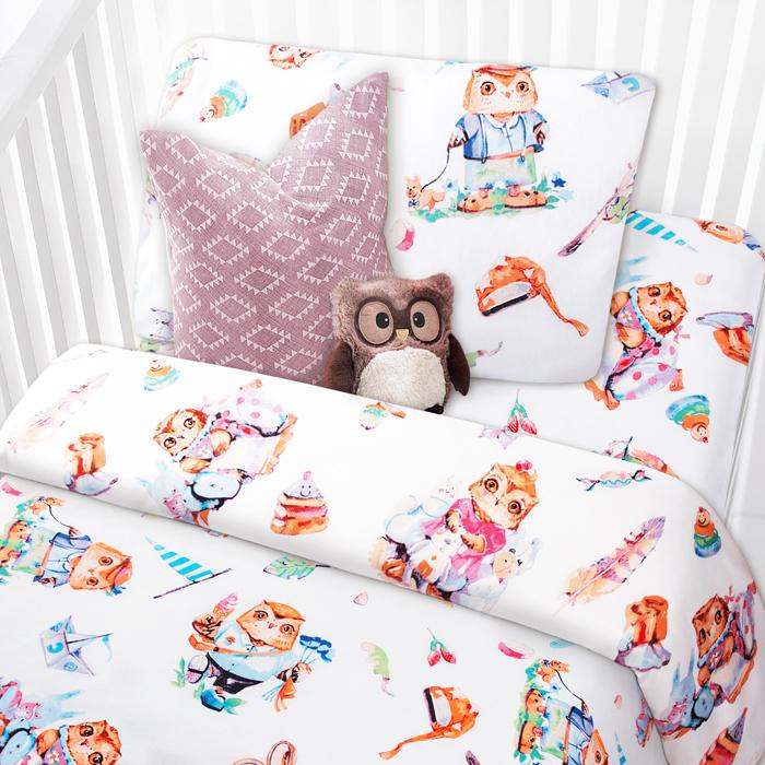 """Комплект в кроватку Mona Liza """"Совята"""", 1,5-спальный, цвет: белый, наволочка 40 х 60 см"""