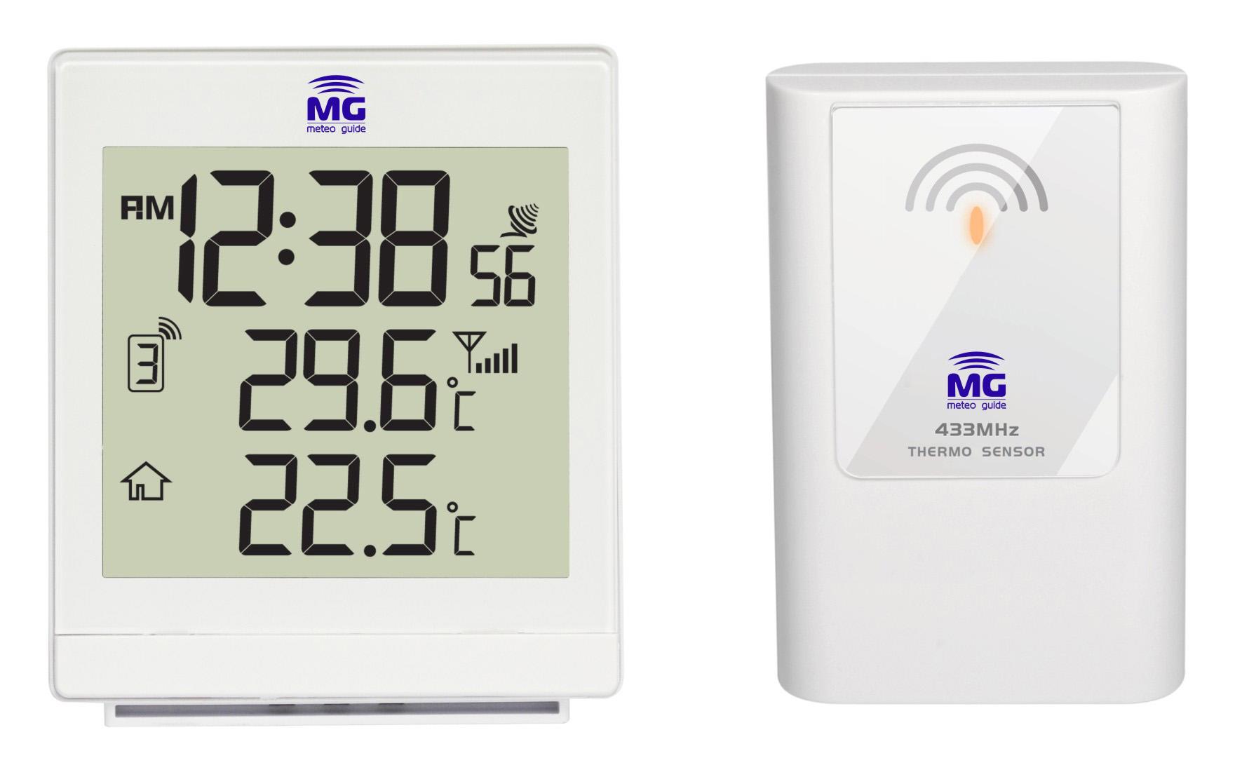 MG 01203, Whate настольная погодная станция с радиодатчиком01203Настольная метеостанция MG 01203 представляет собой универсальное устройство, позволяющее определять не только температурные показатели воздуха до -50 С (как в помещениях, так и на улице. Миниатюрные размеры, часы с подсветкой и четкое отображение информации на крупном дисплее, снабженном подсветкой - дополнительные плюсы, которые по достоинству оценены нашими клиентами. Плюсом данной модели выступает и наличие радиодатчика, который можно разместить в пределах 50 метров от расположения основного прибора. Еще одним преимуществом является красивый дизайн, доставляющий эстетическое удовольствие при безупречной функциональности. Модель снабжена следующими компонентами: ? Температура внутри и вне помещения ? Часы ? Будильник ? Система ICE-ALERT - предупреждение об обледенении ? Подсветка дисплея.