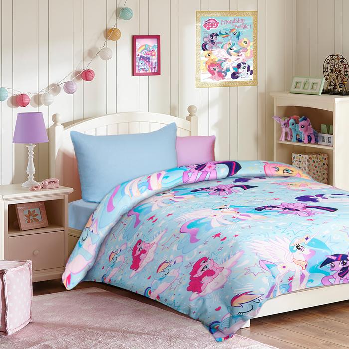 Комплект белья Mona Liza My Little Pony Селестия, 1,5 спальный, цвет: голубой, наволочка 50х70 см полотенце mona liza my little pony в тропиках цвет розовый 70 х 140 см