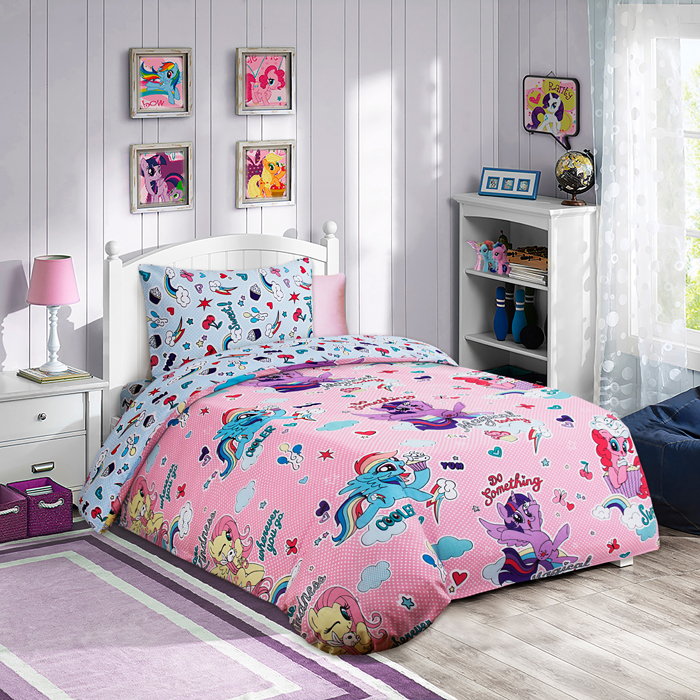 Комплект постельного белья Mona Liza My Little Pony с десертом, 1,5 спальное, цвет: розовый, наволочка 50 х70 см полотенце mona liza my little pony в тропиках цвет розовый 70 х 140 см