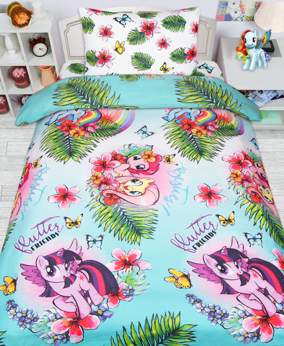Комплект постельного белья Mona Liza My Little Pony в тропиках, 1,5 спальное, цвет: зеленый, наволочка 50 х70 см полотенце mona liza my little pony в тропиках цвет розовый 70 х 140 см