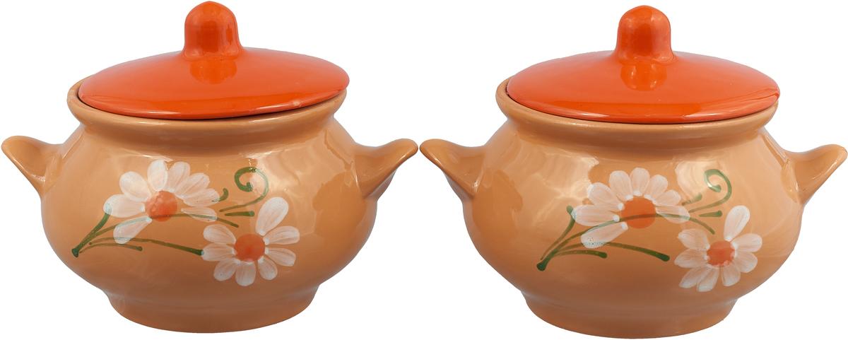 Набор горшочков для запекания Борисовская керамика Русский, с крышками, цвет: бежевый, оранжевый, 950 мл набор горшочков для запекания борисовская керамика стандарт с крышками цвет сиреневый 500 мл 6 шт