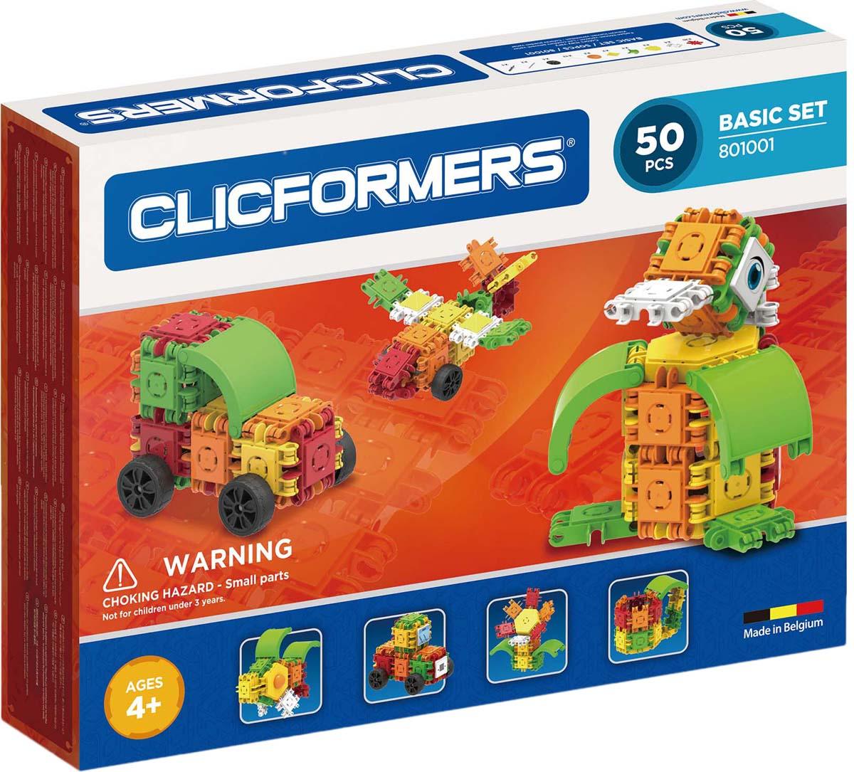 Clicformers Конструктор Basic Set 50 деталей clicformers конструктор clicformers transportation set mini 30 деталей