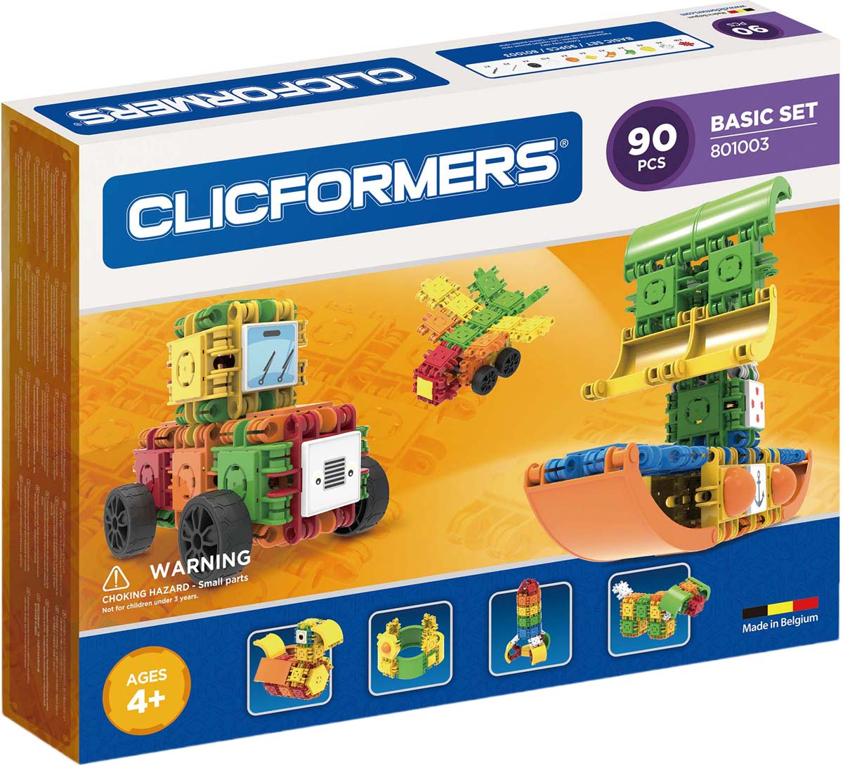 Clicformers Конструктор Basic Set 90 деталей clicformers конструктор clicformers transportation set mini 30 деталей