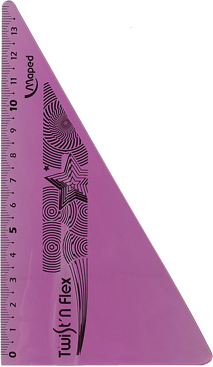 Угольник Maped Twist-n-Flex, неломающийся, 15 см, цвет: сиреневый транспортир maped twist n flex неломающийся 10 см цвет синий