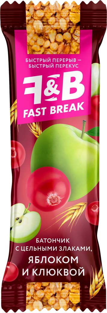 Кондитерская фабрика Богатырь Fast Break с яблоком и клюквой, 30 шт по 30 гПР 6847Батончики из цельных злаков с разными фруктами и ягодами-идеальный перекус для тех, кто следит за своим здоровьем!