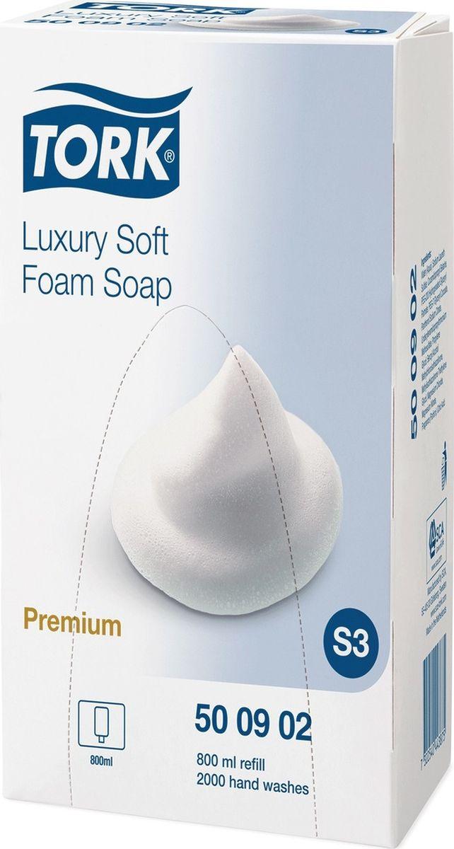 Картридж с жидким мылом-пеной Tork Premium. Система S3, одноразовый, 0,8 л. 601900 мыло жидкое tork premium мини 475 мл картридж д рук
