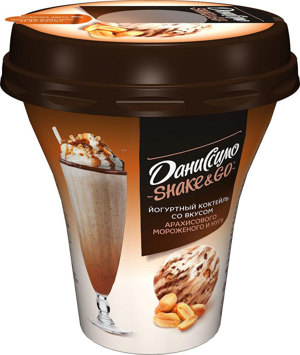 Даниссимо Shake&Go Йогуртный коктейль Арахисовое мороженое и Нуга 5,2%, 260 г молочный коктейль даниссимо со вкусом мороженого крем брюле 2 5% 215 г