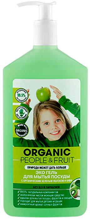 """Гель-экодля мытья посуды """"Organic People & Fruit"""", с органическим зеленым яблоком и киви, 500 мл"""