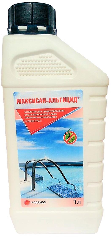 Средство для предотвращения роста водорослей в бассейнах Максисан Альгицид, 1 л т аблетки пролонгированного действия для дезинфекции воды в плавательных бассейнах максисан 5 шт