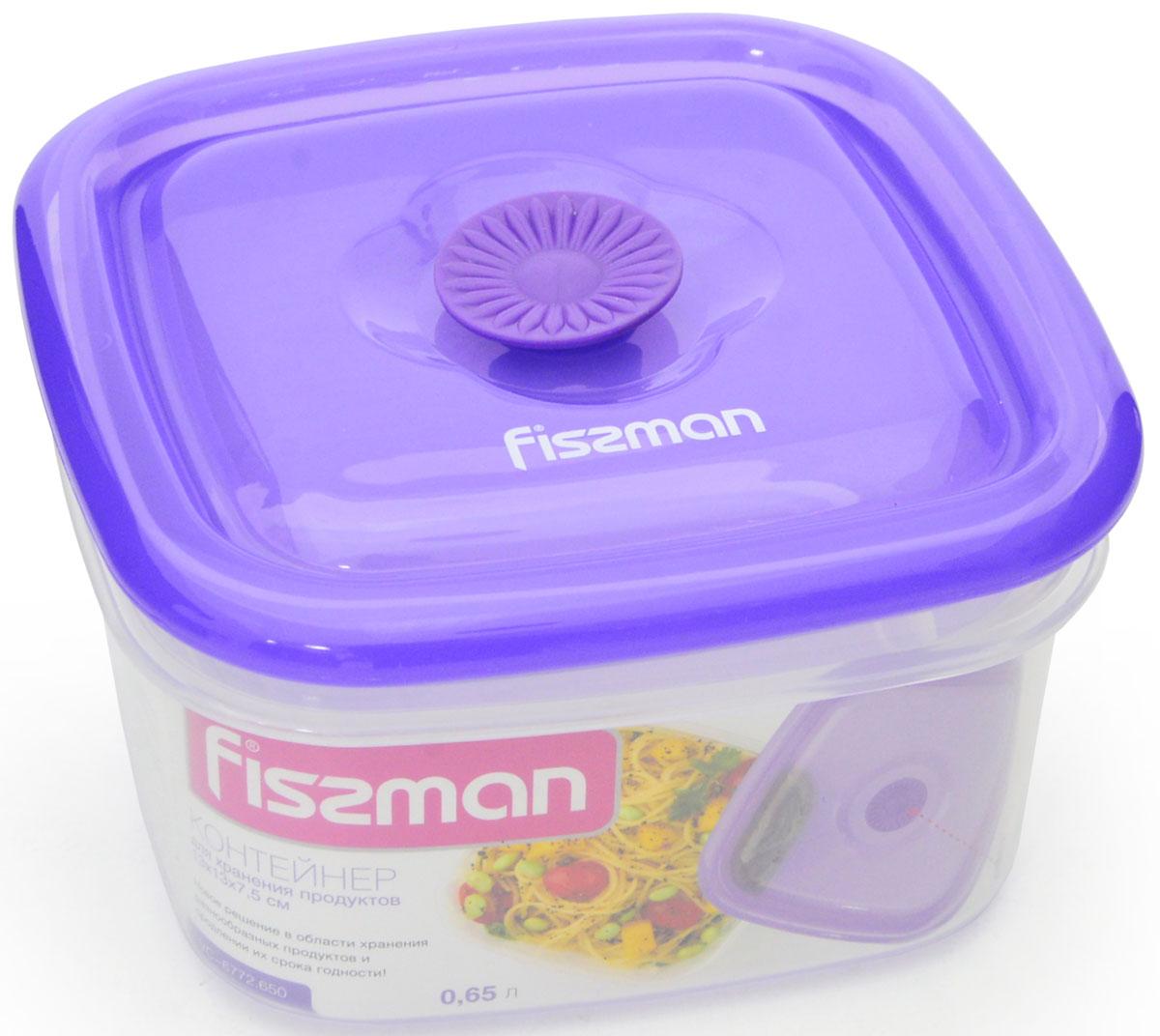 Контейнер для хранения продуктов Fissman, квадратный, 650 мл контейнер для хранения продуктов fissman квадратный 700 мл