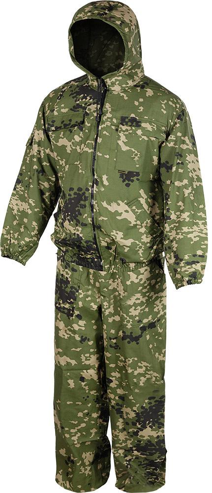 Костюм утепленный HUNTSMANstr_100-147Костюм маскировочный летний. Куртка на молнии с капюшоном, утяжки на капюшоне, низ куртки и рукава на резинке, 2 накладных кармана с клапаном в области груди, 2 нижних боковых прорезных кармана, на левом рукаве накладной карман с клапаном. Брюки свободного кроя на резинке по поясу и низу брюк, 2 кармана. Рекомендуем!