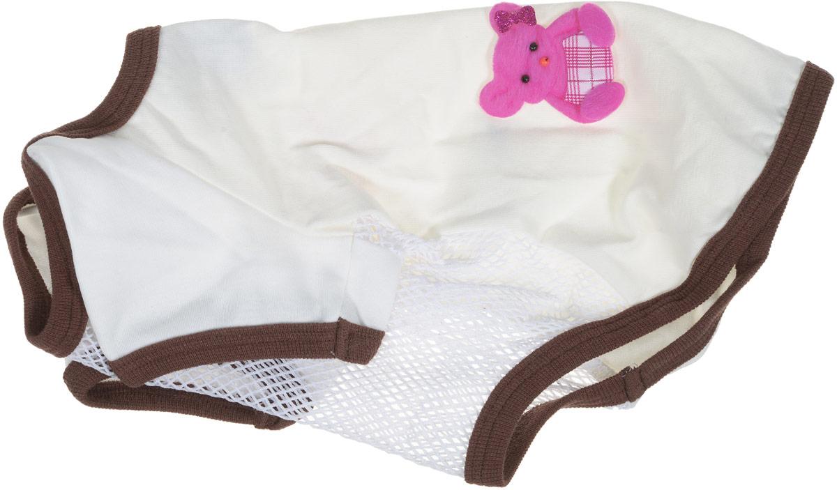Майка для собак GLG 3 Д картинки, для девочки, цвет: коричневый. Размер L брюки для девочки concept club biblis цвет серый 10210160046 1900 размер 158