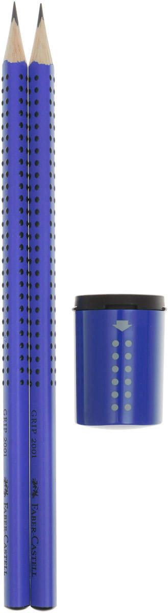 Faber-Castell Набор карандашей Grip 2001 с ластиком и точилкой цвет синий lavellecollection карандаш pl12 двойной с точилкой тон 22 черный синий 7 г