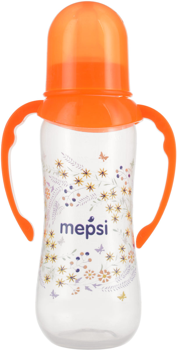 Mepsi Бутылочка для кормления с ручками цвет оранжевый от 4 месяцев 250 мл бутылочка для кормления philips avent с мягким носиком и ручками от 4 месяцев цвет белый