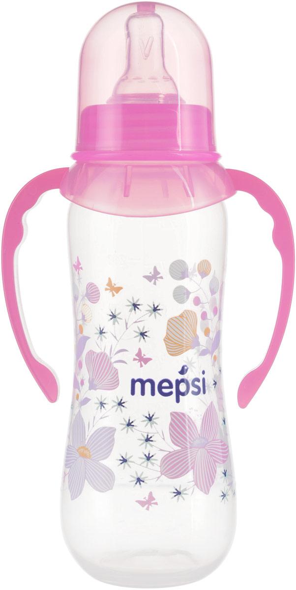 Mepsi Бутылочка для кормления с ручками цвет розовый от 4 месяцев 250 мл бутылочка для кормления philips avent с мягким носиком и ручками от 4 месяцев цвет белый