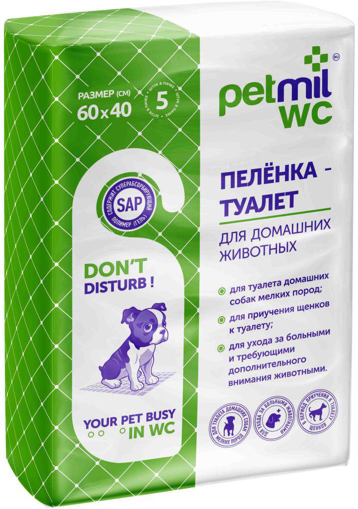 """Пеленка-туалет для животных """"Petmil WC"""", впитывающая, гелевая, 60 х 40 см, 5 штук"""