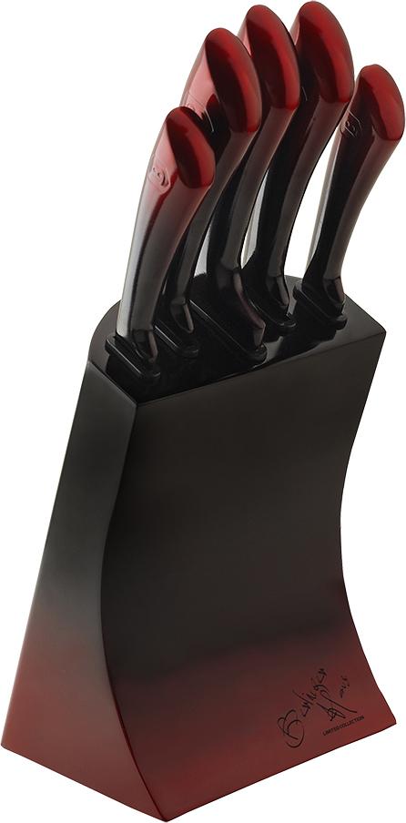 цена на Набор ножей Berlinger Haus Passion Line, на подставке, цвет: красный, 6 предметов
