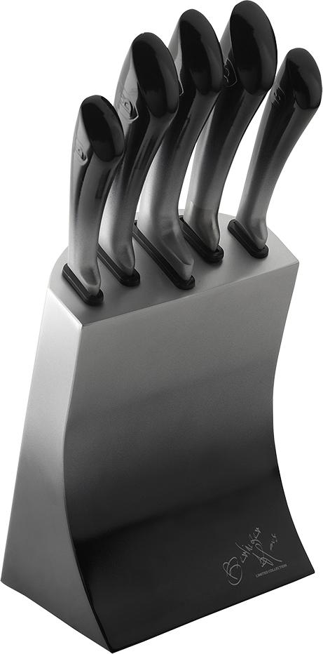 Набор ножей Berlinger Haus Passion Line, на подставке, цвет: серый, 6 предметов набор ножей rainstahl на подставке цвет красный серый 8 предметов
