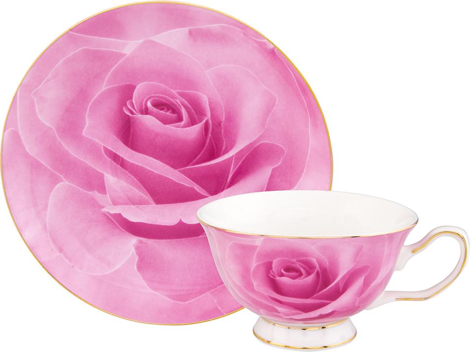 """Чайная пара Elan Gallery """"Роза"""", цвет: розовый, 2 предмета"""
