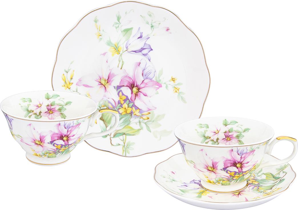 """Чайная пара Elan Gallery """"Нежные цветы"""", 210 мл, 4 предмета"""