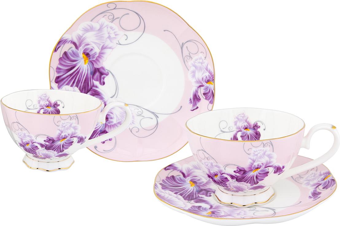 Набор чайный Elan Gallery Ирисы, 4 предмета соусник elan gallery листок 15 7 5 2 5 см 2 секции